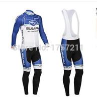 Wholesale Subaru Cycle - Wholesale-free shipping 2015 subaru [thermal] long sleeve cycling jersey and bib pants set mountain bike riding sport equipment best wear