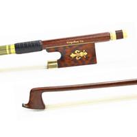 Wholesale Violin Parts - Wholesale- 127V 4 4 Size VIOLIN BOW Carbon Fiber Core with Pernambuco Skin Stick Snakewood Frog Natural Horsehair Violin Parts Accessories