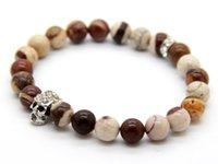 Wholesale Zebra Beads Wholesale - 2015 New Design Summer Bracelets Wholesale 10pcs lot made by Australian Zebra Stone Beads Crystal Silver Skull Yoga Bracelet