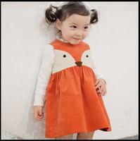 sonbahar portakal elbiseleri toptan satış-Sweat Toddler Kids Kızlar Fox Style Casual Elbiseler Ruffles Kolsuz Güz Kış Moda Elbiseleri Portakal Rengi Noel Dress