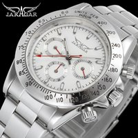 Wholesale Jaragar Water Resistant - Fashion Hot Sale Luxury Men Automatic watches Back cover Automatic Glass Watch Mechanical Sport Mens Watches JARAGAR watches Wholesale box