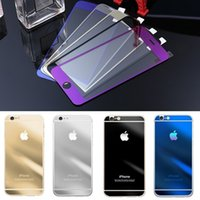 Wholesale Iphone 4s Color Screen Film - Free Shipping 9H Tempered Glass Color Film LCD Screen Safeguard Protector Front and Back Protective Cover For iPhone 4S 5S iphone 6 Plus