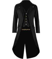 Wholesale Men S Long Suit Tailcoat - Men's Gothic Tailcoat Jacket Steampunk Trench Cosplay Costume Victorian Coat Black Long Coat Men's Tuxedo Suit Halloween Party