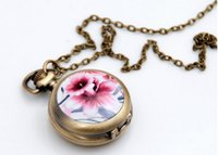 Wholesale Enamel Flower Pocket Watch - New Fashion design Enamel flowers Quartz watch Retro Sweater chain pendant Necklace pocket watches