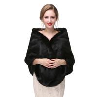 Wholesale real fur boleros for sale - Group buy High Quality Black Bridal Faux Fur Wraps Wedding Dress Fur Boleros Winter Bridal Jacket New Arrival Real
