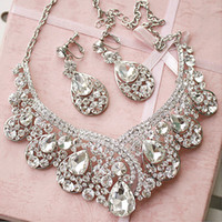 Wholesale Earrings Pierced - 2015#HB00036 New Arrival Earring Neck Romantic HOt Tow Pieces Crystals Wedding bridal Jewelry Set Dress Accessories