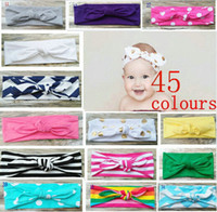 Wholesale Turban Twist Headwrap - 20PCS Cotton girl baby Turban Twist Headband Head Wrap Twisted Knot Soft stripe Hairband chevron Headbands golden Wave dot HeadWrap FD6554