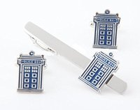 Wholesale Shirt Tie Cufflink Gift Set - Doctor Who TARDIS POLICE BOX CUFFLINKS and TIE CLIP Set For Shirt Best gift Fashion Jewelry Free Shipping W399
