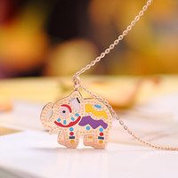 Wholesale Teddy Bear Necklace Pendants - Fashion Teddy Bear jewelry necklace Cute Girls boy Titanium Steel Multicolor Necklaces & Pendants for women chain