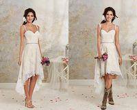 marfim vestido de casamento curto praia venda por atacado-Espaguete do vintage Lace Alta Baixa Vestidos De Noiva Marfim Branco Curto Praia Vestidos De Noiva Feitos Sob Encomenda Vestidos De Noiva 2015-2016