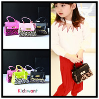 Wholesale Leopard Print Pu - Newest Leopard Print Kid handbag Fashion PU Leather Kids Girl Tote Baby Unique design Children bag Designer Child Purse 5 Colors KW-BA086