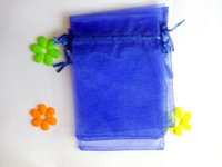 Wholesale Yarn Bracelets - 50pcs 10*15cm Royal blue Organza gift bag jewelry packaging display bags Drawstring pouch for bracelets necklace mini Yarn bag