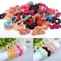 60pcs / pack Mélange Lots Sweet Girl Élastique Hair Bands Corde Ponytail Accessoires Headwear Flower Dot Rubber Head Band Gift Free