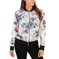 Wholesale Chic Shorts Suit - Wholesale- Autumn New 2016 Coat Womens Long Sleeve Suit Casual Jacket Coat Print Flower Female Outwear Feminino Chic Fashion Casaco Se29
