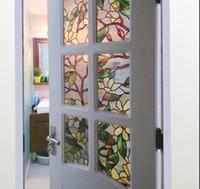ingrosso pellicole di finestra del bagno-Pellicola 3D magnolia per vetri colorati Pellicola per vetri statici per finestra per la decorazione della finestra