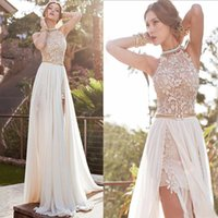 Wholesale New Sale Dresses Wedding - Hot Sale 2015 Sexy New Halter Cheap Chiffon Prom Dresses Beaded Crystals Applique Floor Length Wedding Evening Gowns