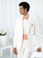 Wholesale New style Notch Lapel Two Buttons White Groom Tuxedos Suit Men s suits Jacket Pants Tie Girdle