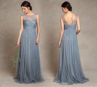 Discount discount-discount - Cheap 2015 Long Bridesmaid Dresses Ruffle A Line Illusion Jewel Neck 2016 Party Gowns Prom Dresses With Ruffle Zip Back Tulle Fabric