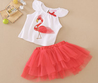 Wholesale Skirted Red Coat - New Arrival Baby clothing sets Summer Baby Girls 2 Piece suits top+skirt fashion kids clothes 8 s l