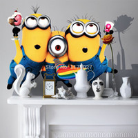 Wholesale Wall Stickers Minion - Hot Selling Minion Wall Sticker Home Decor Despicable Me 2 Movie Decal Removable Art Kids  Nursery room decoration