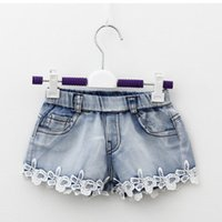 Wholesale Jeans Mini Short Hot - Summer Children Denim Shorts Korean Girl Lace Shorts Kid's Jeans Hot Pants 100-140 Size 5pcs lot Factory Sale Child Clothing A4905