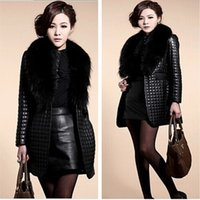 Wholesale Winter Skin Ladies - New winter women fur coats Slim Plaid Big raccoon fur collar Sheep skin leather and cotton leather jacket Lady long coat new arrive!!