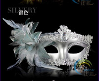Wholesale Red Mask For Prom - Silver New Masquerade Ball Fancy Dress Party Prom Eyemask Feathers Hallowmas Venetian Mask Banquet for Lady Girls Woman Birthday