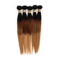 ombre de cabelo 33 venda por atacado-3 Tom Brasileiro Virgem Cabelo Reto Tece 3 Pacotes T1B / 33/27 Ombre Indiano Peruano Malaio Remy Extensões de Trama Do Cabelo Humano