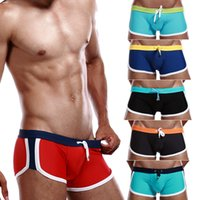 Wholesale Sexy Men Wearing Swimming Shorts - Sexy Mens Swimwear Swimsuits Swimming Trunks Boxer Shorts Man Sea Beach Wear Pouch Push Up Summer Brand Nylon 2015 new 058