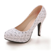 Wholesale Kitten Heel Evening Shoes Silver - 2016 Red Lace Bridal Shoes Almond Toe Platform Pumps With Thick Soles Silver With High Heels Sparkling Crystals Party Prom Evening Shoes