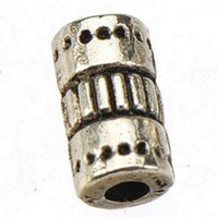 Wholesale Free Tv Tube - Tube Beads Charms For Bracelets Bangles Necklaces Crafts Retro Silver Circle Alloy Free Shipping Suppliers For Jewelry Findings 4*9mm 400pcs