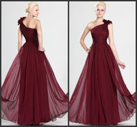 Wholesale Embellished Chiffon Dress Pink - Beautiful Wine Red Prom Dress Eiffelbirde with Sexy Hand-Made Flowers One Shoulder and Embellished Pick-ups Elegant Chiffon Evening Gowns