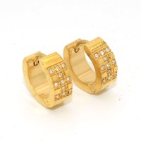 Wholesale Earings Gold Round Wholesale 18k - Surprising 18K Gold Mens Stainless Steel Round Crystal Hoop Earrings For Women Earings Brand Fashion Jewelry