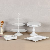 Wholesale wedding cake stands crystals - Metal Iron Cupcake Display Rack Resuable Without Crystal Dessert Cake Stand For Wedding Birthday Party Decorations Holder Fashion 95ds BB