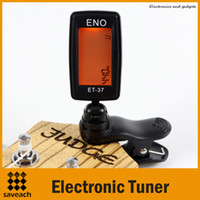 Wholesale Guitar Tuner Electronics - Universal ENO ET-37 LCD Mini Clip-on Electronic Guitar Chromatic Bass Violin Ukulel Tuner Wind Instrument Black