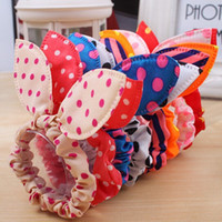 Wholesale Hair Dot Bows - SALE! Fashion Girls Hair Band Mix Styles Polka Dot Bow Rabbit Ears Elastic Hair Rope Ponytail Holder Hair Accessories 100PCS
