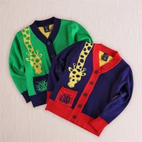 Wholesale Boys Giraffe Clothes - baby boy giraffe clothes knit cardigan sweater cartoon cardigan knitting boys sweaters spring autumn free shipping in stock