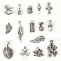 Wholesale Tibetan Silver Leaf Beads - Antique silver tibetan charms big hole beads jewelry making charms DIY leaf wing locket European jewelry findings components bulk