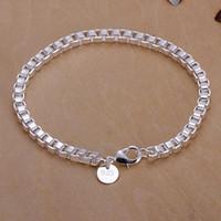 Wholesale Wholesale Silver Braclets - Wholesale-Fashion 925 Silver Braclets For Men Women Charm Box Chain Bracelets Classic Silver Jewelry Joyas Pulseras de plata 925 H172