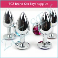 Wholesale Sex Toy 1pc - ZCZ New 1PC Butt Toy Plug Anal Insert sex products Stainless Steel Metal Plated Jeweled Sexy Stopper 75mm x 28mm CR025