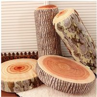 Wholesale Log Novelty Pillow - 3D Drop Shipping Novelty Wood Grain and Wood Throw Pillows Green Log Pillow Gift for kid Child Cylindrical Car Cushion Christmas Gift