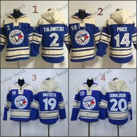 Wholesale Xxl Size Baseball Jackets - Toronto Blue Jays #2 Troy Tulowitzki blue 2015 Baseball Hoodie Hooded Sweatshirt Jackets New Style Outdoor Uniform size M-2XL free shipping
