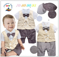 Wholesale Bow Ties For Little Boys - 2015 hot selling baby boys clothes short sleeve turn-down collar romper for infant little tie bow toddler jumpsuit with hat 0-3age K25
