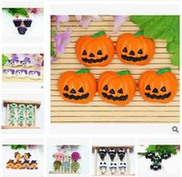 Wholesale Wholesale Resin Pumpkins - DIY Halloween Pumpkin Flat Back Resin Accessories For Hair Bows Cat Owl Bat Skull Fridge Magnets Resin Flatback Halloween Props m0637