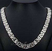 Wholesale China Flats Crystal - Fashion New Bohemian Style Jewelry 8mm 24'' Silver Stainless Steel flat byzantine Curb Link Necklace Chain for Friends holiday Gifts on sale