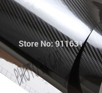 Wholesale Sticker Bubbles - 152 X 30CM 5D Carbon Fiber Film Wrap Air Free Bubble Car Sticker For Car Motorcyle Phone Sticker Waterproof Black Color