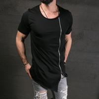 zíperes do t-shirt dos homens venda por atacado-Hip Hop Moda Mens T Shirt Tee Com Zíper Designer de Homens T Camisas dos homens de Skate T camisas de Algodão Camisa Tees Tops