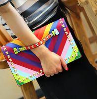 Wholesale Leather Envelope Clutches - Wholesale-Fashion Rainbow Envelope Clutch Bag Women Wristlets Leather Bags Colorful Small Shoulder Bag Handbag