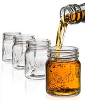 Wholesale Clear Shot Glasses - Wholesale-2oz Mini clear Mason Jars Novetly shot glass,USD45.60 for 24pcs Each USD1.90