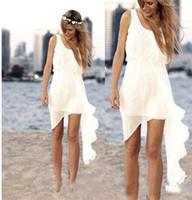 vestido de boda de playa casual marfil al por mayor-2019 Ivory Chiffon Short Short Beach Wedding Dresses Diseño asimétrico simple Scoop Neck Vestidos de novia Verano Falda Casual